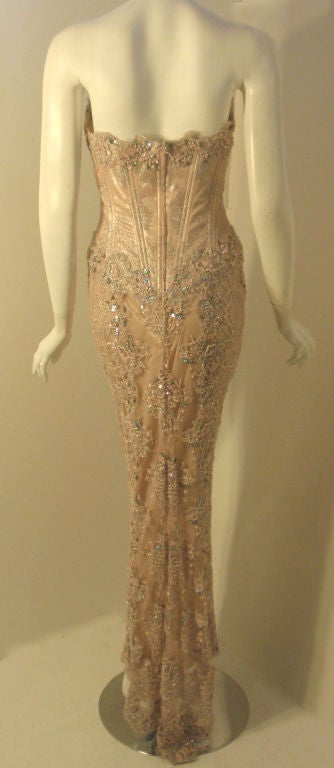 Vick Tiel Pink Lace Beaded Strapless Gown, Circa 1980 For Sale 1