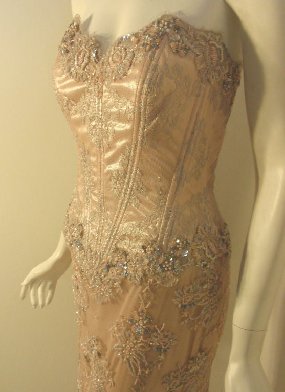 Vick Tiel Pink Lace Beaded Strapless Gown, Circa 1980 For Sale 2