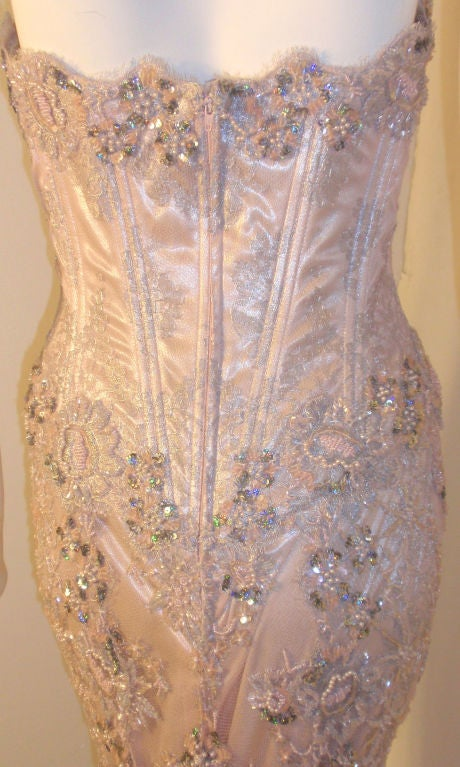 Vick Tiel Pink Lace Beaded Strapless Gown, Circa 1980 For Sale 3
