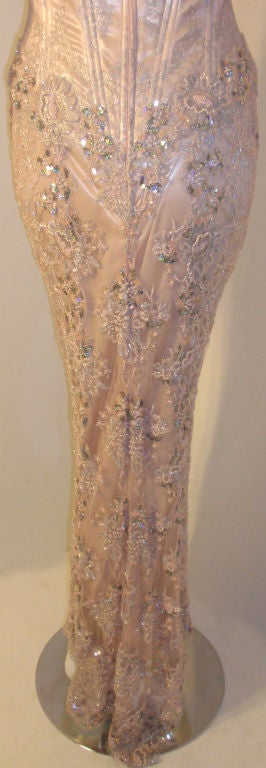Vick Tiel Pink Lace Beaded Strapless Gown, Circa 1980 For Sale 5