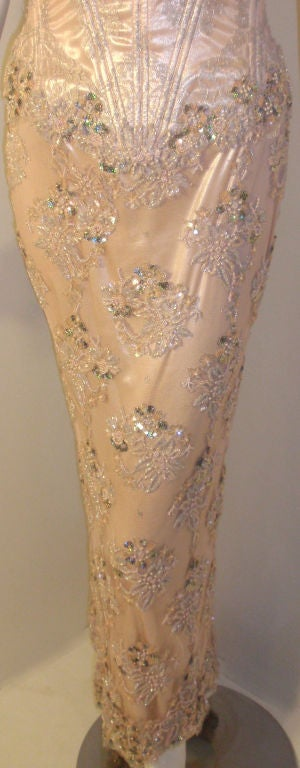 Vick Tiel Pink Lace Beaded Strapless Gown, Circa 1980 For Sale 4