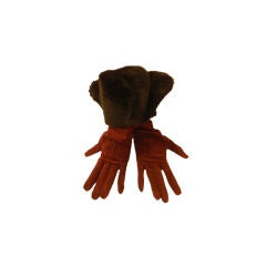 Yves Saint Laurent Rive Gauche Burgundy Suede Gloves with Faux Fur Cuffs