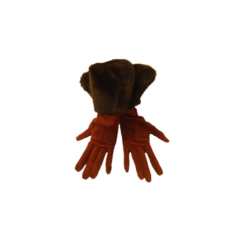 Yves Saint Laurent Rive Gauche Burgundy Suede Gloves with Faux Fur Cuffs 1