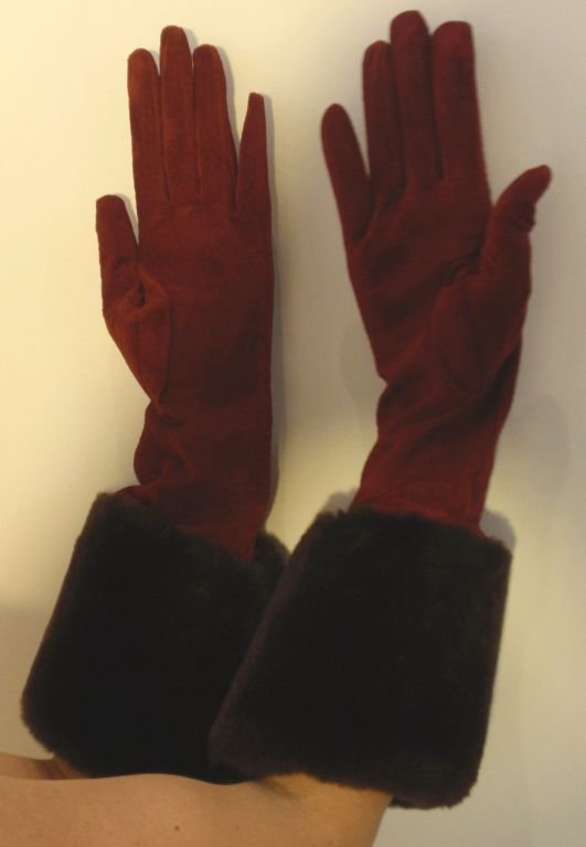 Yves Saint Laurent Rive Gauche Burgundy Suede Gloves with Faux Fur Cuffs 6