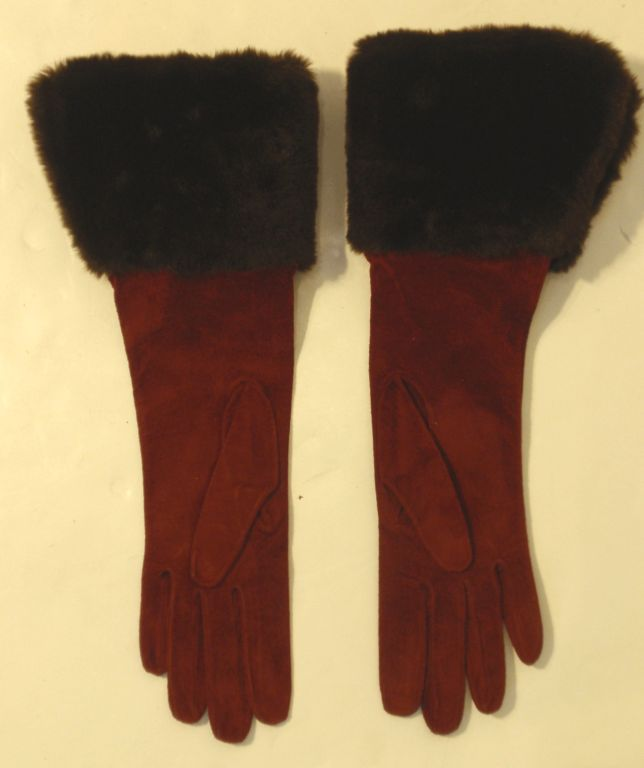 Yves Saint Laurent Rive Gauche Burgundy Suede Gloves with Faux Fur Cuffs 7