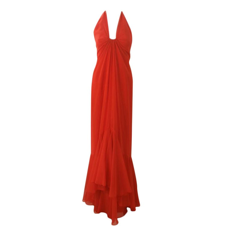 Travilla Long Blood Orange Chiffon Gown, Circa 1970