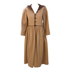 Saint Laurent Rive Gauche Khaki Quilted Toggle Coat Dress, Circa 1980's
