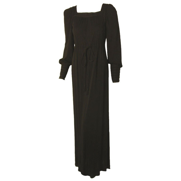 Yves Saint Laurent Long Black Bohemian Gown w. Tassel Belt, C. 1970's 34