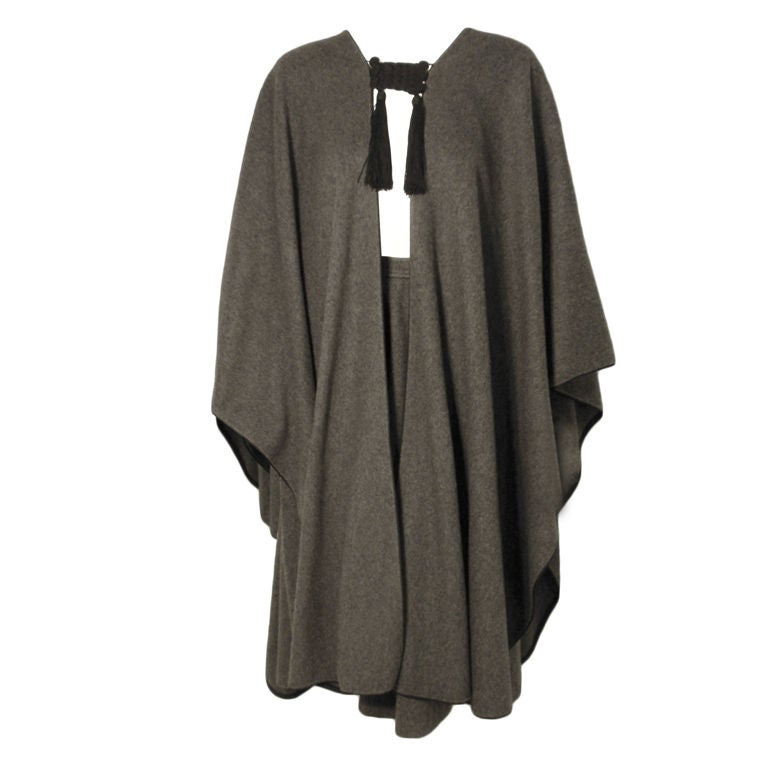 Yves St. Laurent 2pc Gray Wool Cape and Skirt Set, Circa 1970 1