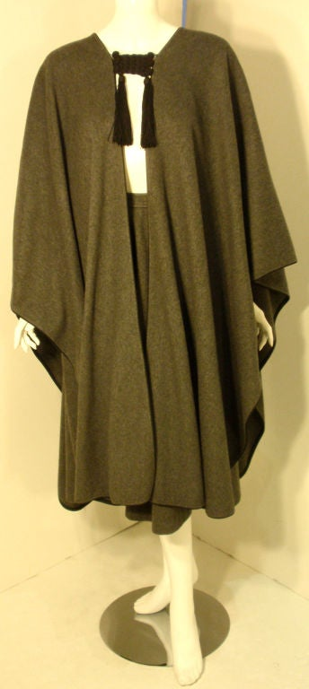 Yves St. Laurent 2pc Gray Wool Cape and Skirt Set, Circa 1970 3
