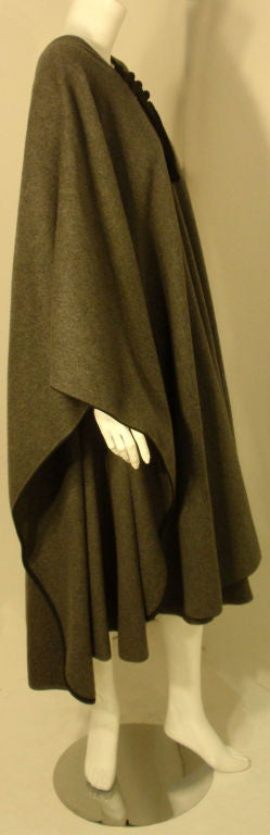 Yves St. Laurent 2pc Gray Wool Cape and Skirt Set, Circa 1970 4