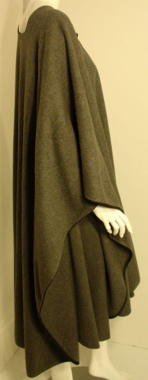 Yves St. Laurent 2pc Gray Wool Cape and Skirt Set, Circa 1970 6