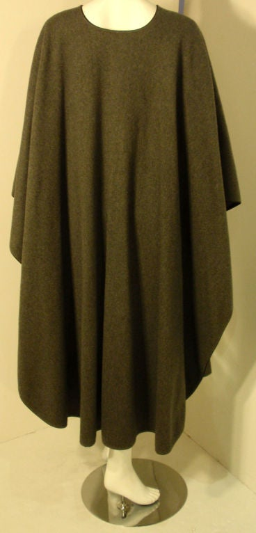Yves St. Laurent 2pc Gray Wool Cape and Skirt Set, Circa 1970 For Sale 2