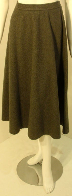 Yves St. Laurent 2pc Gray Wool Cape and Skirt Set, Circa 1970 8