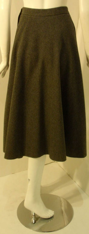 Yves St. Laurent 2pc Gray Wool Cape and Skirt Set, Circa 1970 9