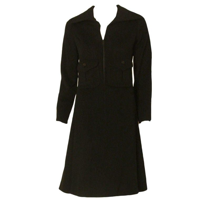 Galanos Black Cashmere Coat Dress with Zip Front & Patch Pockets, Circa 1960's