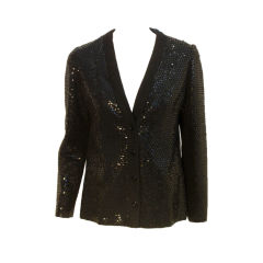 Galanos Black Wool Jacket  With Sequins, Circa 1960's