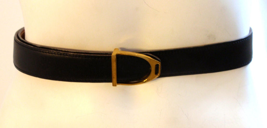 hermes black leather belt with gold buckle circa 1990 at