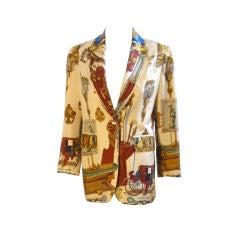 Hermes Cream Silk  Single Breasted Jacket, circa 1990