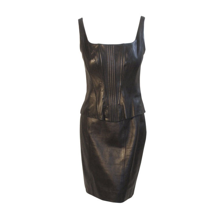 Chanel 2pc Black Leather Bustier and Mini Skirt, Circa 1990 1