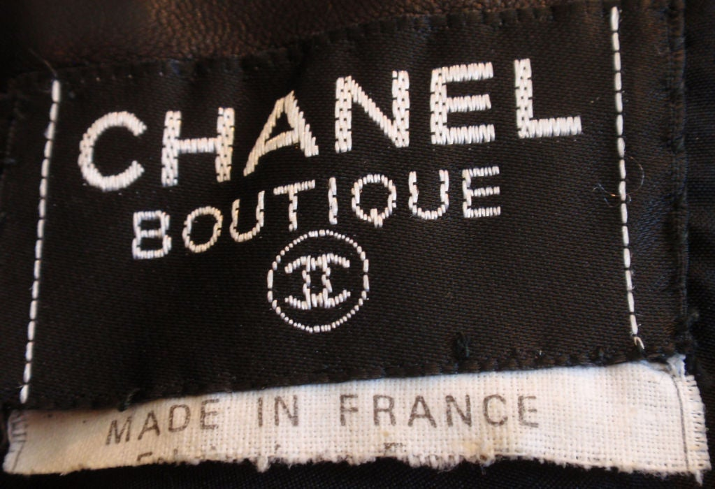 Chanel 2pc Black Leather Bustier and Mini Skirt, Circa 1990 2
