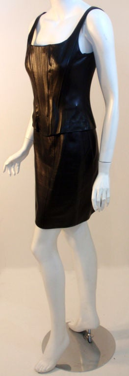 Chanel 2pc Black Leather Bustier and Mini Skirt, Circa 1990 4