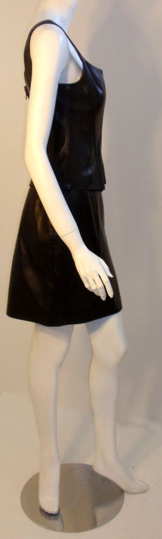 Chanel 2pc Black Leather Bustier and Mini Skirt, Circa 1990 5