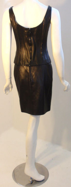 Chanel 2pc Black Leather Bustier and Mini Skirt, Circa 1990 6