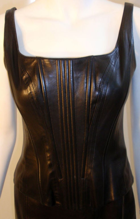 Chanel 2pc Black Leather Bustier and Mini Skirt, Circa 1990 7