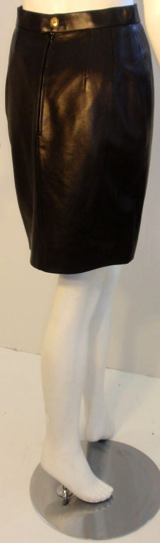 Chanel 2pc Black Leather Bustier and Mini Skirt, Circa 1990 10