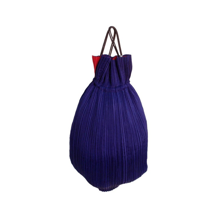 Issey Miyake Purple & Hot Pink Pleated Silk Reversible Bag 1