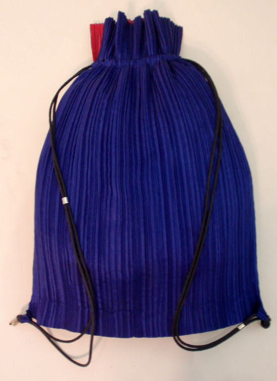 Issey Miyake Purple & Hot Pink Pleated Silk Reversible Bag 2