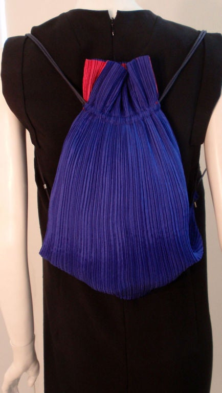 Issey Miyake Purple & Hot Pink Pleated Silk Reversible Bag 4