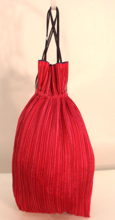 Issey Miyake Purple & Hot Pink Pleated Silk Reversible Bag 5