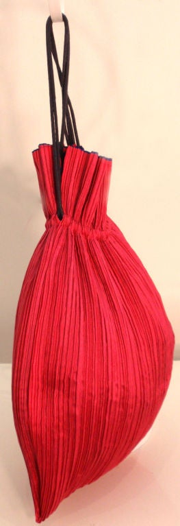 Issey Miyake Purple & Hot Pink Pleated Silk Reversible Bag 6