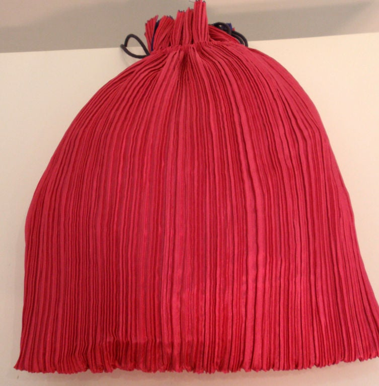 Issey Miyake Purple & Hot Pink Pleated Silk Reversible Bag 8