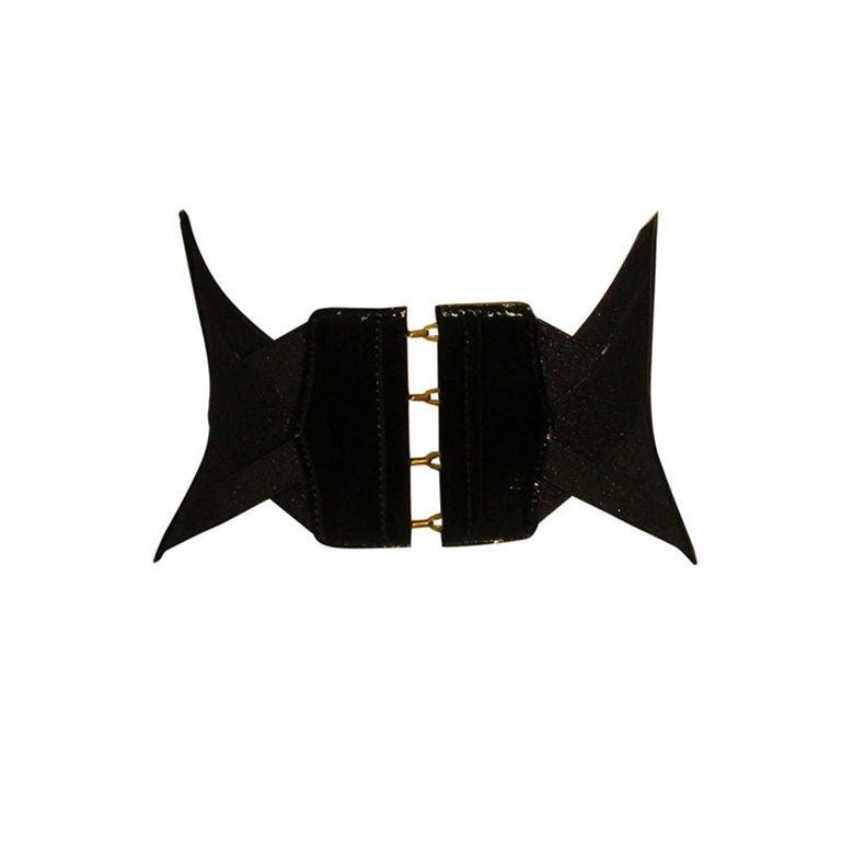 Yves St Laurent Black Bandage Corset Belt w/Patent Leather Trim xs 1