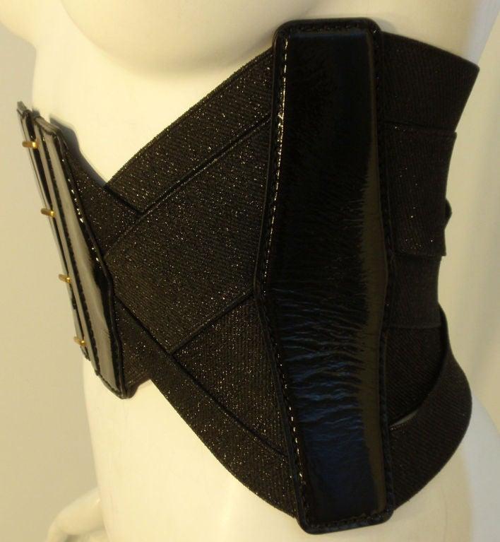 Yves St Laurent Black Bandage Corset Belt w/Patent Leather Trim xs 4