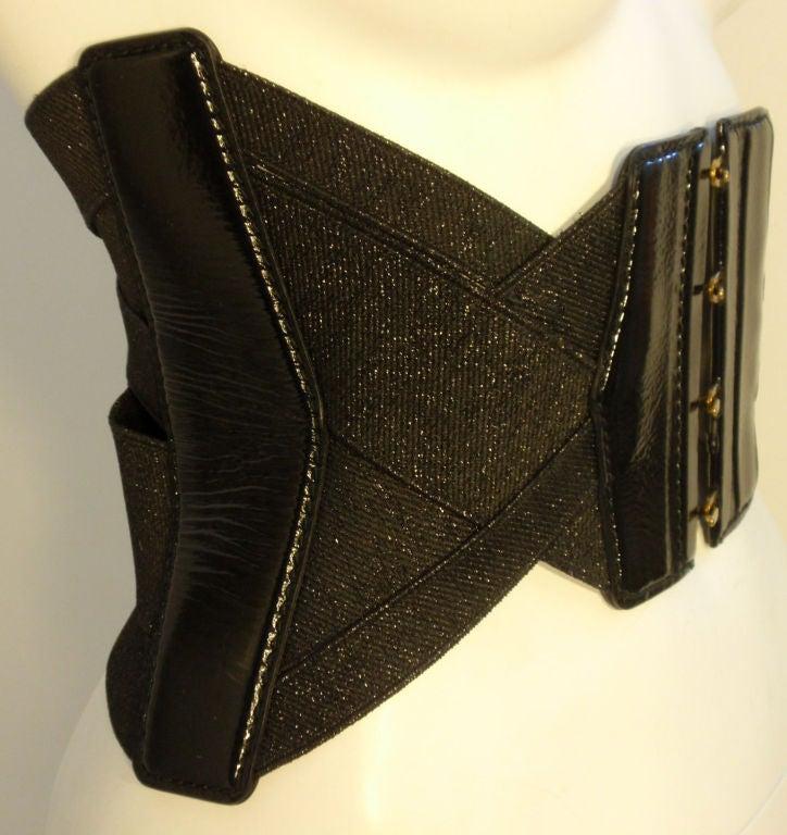 Yves St Laurent Black Bandage Corset Belt w/Patent Leather Trim xs 5