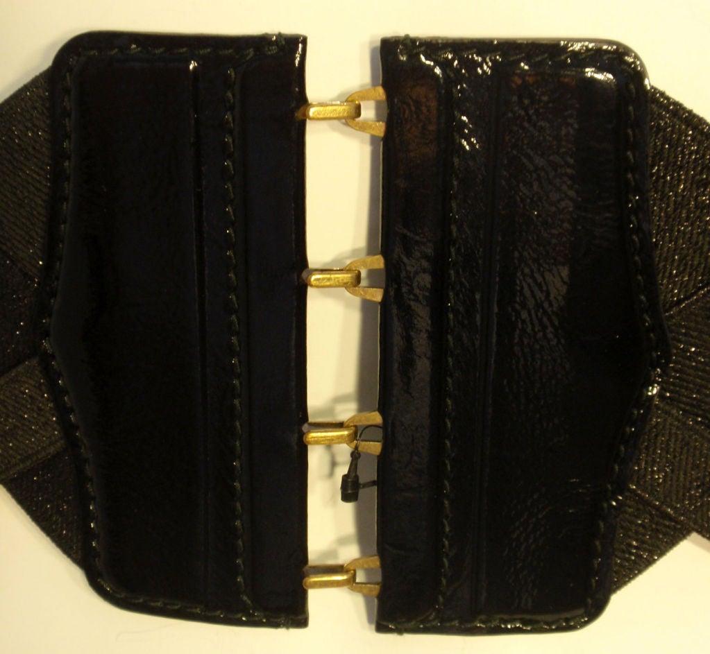 Yves St Laurent Black Bandage Corset Belt w/Patent Leather Trim xs 8