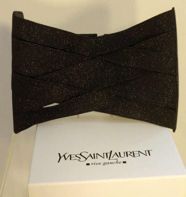 Yves St Laurent Black Bandage Corset Belt w/Patent Leather Trim xs 9
