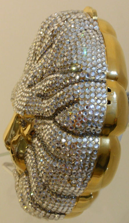 Rhinestone Covered Lion Clutch Shoulder Bag Circa 1980 At