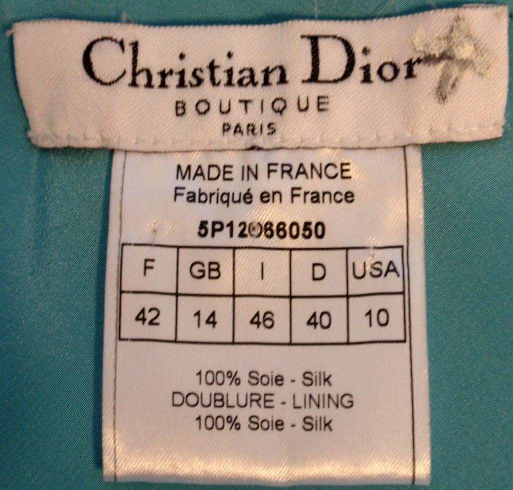 Christian Dior Aqua Blue Chiffon Dress, Circa 1990's 2
