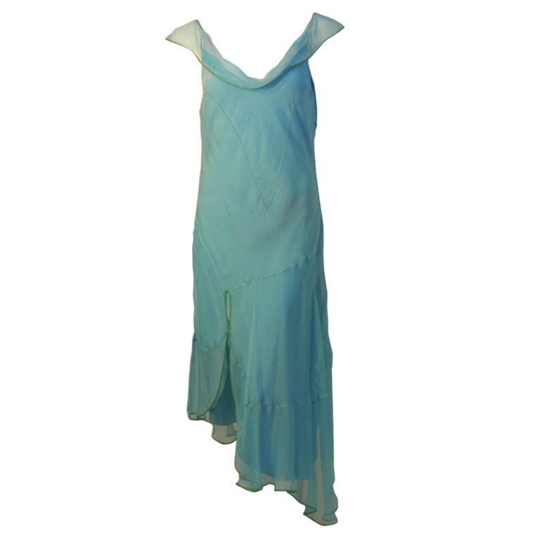 Christian Dior Aqua Blue Chiffon Dress, Circa 1990's 1