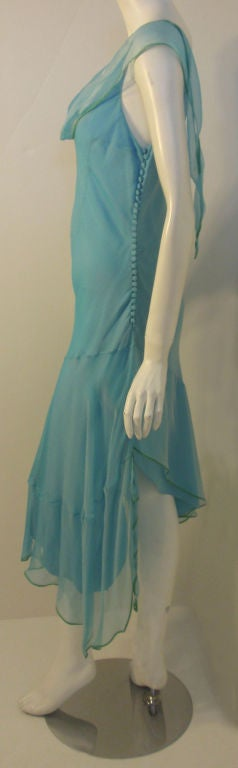 Christian Dior Aqua Blue Chiffon Dress, Circa 1990's 3