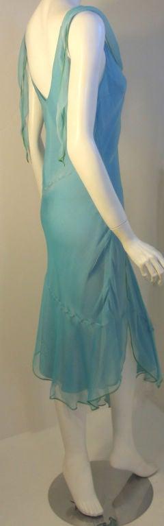 Christian Dior Aqua Blue Chiffon Dress, Circa 1990's 4