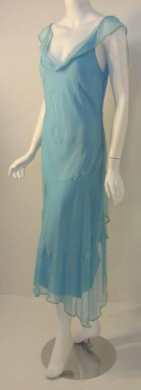 Christian Dior Aqua Blue Chiffon Dress, Circa 1990's 5