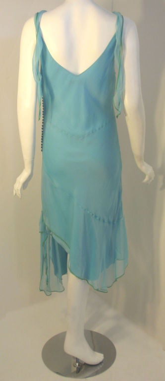 Christian Dior Aqua Blue Chiffon Dress, Circa 1990's 6