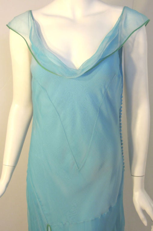 Christian Dior Aqua Blue Chiffon Dress, Circa 1990's 7