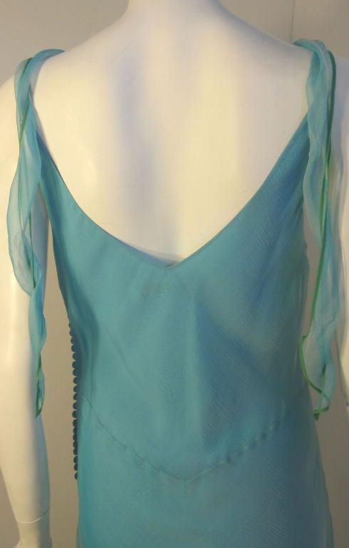 Christian Dior Aqua Blue Chiffon Dress, Circa 1990's 8